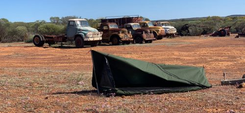 AOS Bushman Apex Deluxe Swag set up in Australian outback