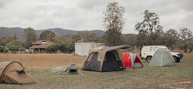 Group of tents in a row