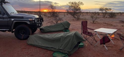 Group of swags set up in outback Australia