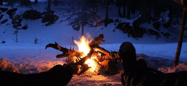 Campfire in snow