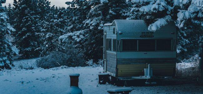 Caravan in the snow