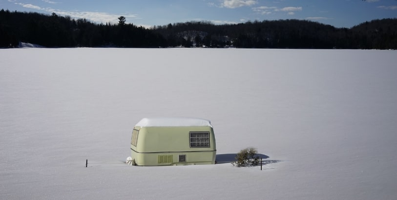 Snowy caravan